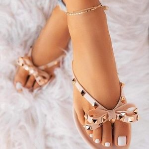 Wild Diva Studded Bow Jelly Thong Sandals